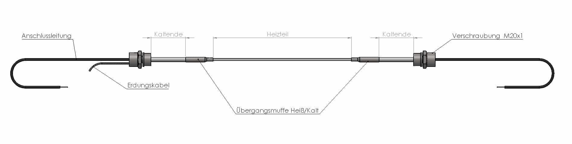 Heizleiter mit angesetzten Kaltenden + Kabel